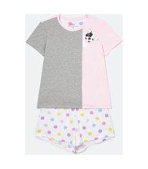 pijama manga curta com short estampado | lov | multicores | gg