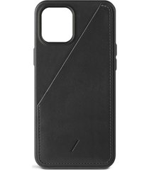 clic card iphone 12 pro max leather case - black