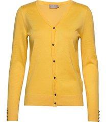 cardigan-knit light stickad tröja cardigan gul brandtex