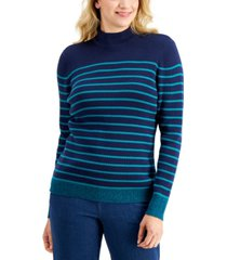karen scott jenny rib striped mock-neck sweater, created for macy's