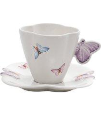 conjunto 6 xícaras de porcelana para chá com pires wolff 200ml – linha borboletas