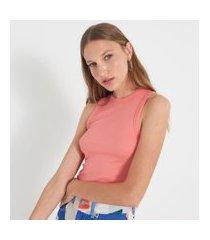 blusa regata cropped básica em ribana com gola redonda | blue steel | rosa | pp