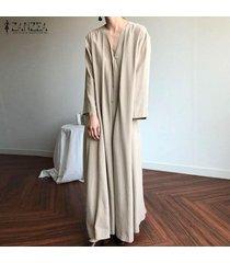 zanzea mujer de manga larga maxi largo del vestido de las señoras ocasionales del algodón de cuerpo entero vestido de la camisa -beige