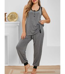 plus size henley top and drawstring pants pajamas set