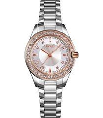 la mujer skmei quartz reloj de diamantes femenino moda de acero inoxidable pulido brillante marcado 30 medidor impermeable de dial de 24 horas