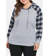 plus size drawstring raglan sleeve hoodie