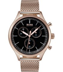 boss hugo boss men's chronograph companion carnation gold-tone stainless steel bracelet watch 42mm