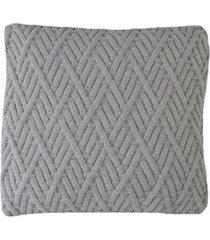 capa almofada tricot 45x45cm c/zãper sofa trico cod 1025 cinza claro - azul - feminino - dafiti