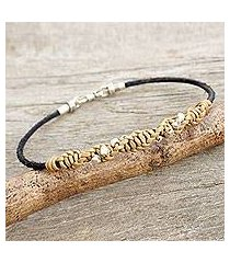 men's leather and silver braided bracelet, 'decisive tan' (thailand)