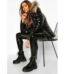 glanzende gewatteerde jas met faux fur zoom, zwart