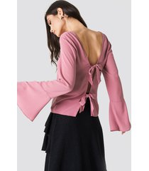 na-kd tie back wide sleeve blouse - pink