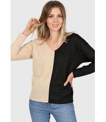 sweater beige destino collection bicolor
