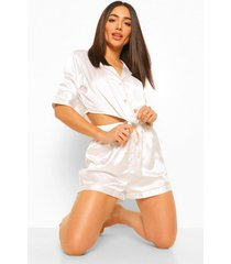 korten satijnen pyjama set met strik, white
