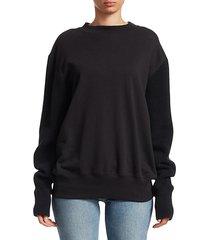 knit sleeve cotton sweatshirt