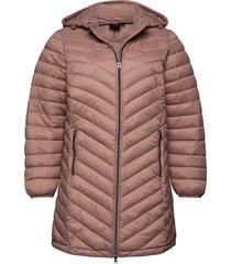 jaccket hood plus zip dupont quilted gevoerde lange jas roze zizzi