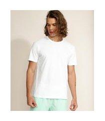 camiseta masculina básica com bordado manga curta gola careca branca