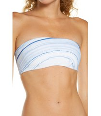 women's l space beach wave strapless swim top, size x-small - blue