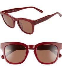 women's rebecca minkoff imogen2 49mm studded sunglasses - burgundy/ brown