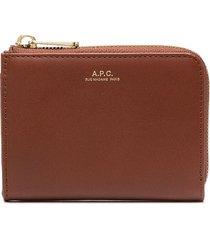 a.p.c. curved zip wallet - brown