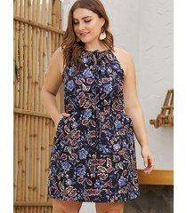 plus talla halter sin tirantes con estampado floral al azar vestido