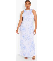 plus tie dye maxi jurk met racer hals, bandjes en split, blue