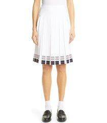 women's thom browne stripe pleated skirt, size 10 us - white