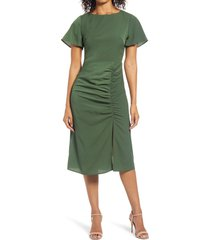 women's chelsea28 side gather midi dress, size small - green