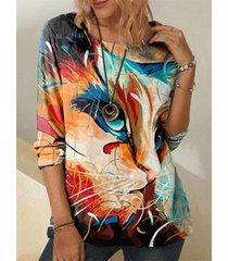 camicetta a maniche lunghe casual con stampa gatto colorato plus