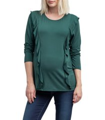 women's nom maternity fiona ruffle trim maternity/nursing top, size medium - green