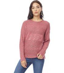 sweater calado mujer rosa corona