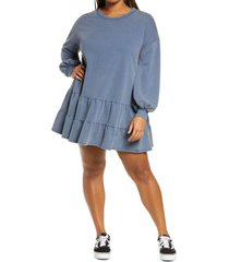 plus size women's bp. drop waist long sleeve babydoll dress, size 1x - blue