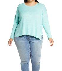plus size women's eileen fisher organic linen crop pullover, size 3x - blue