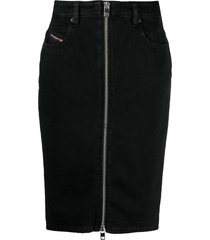 diesel zipped denim pencil skirt - black