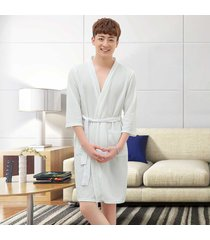 dormir hombres bolsillos kimono toga ropa interior íntima suelta pijamas