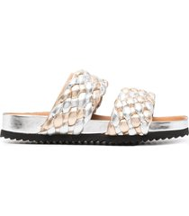 paul warmer metallic-tone braided-strap sandals - silver