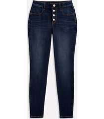 maurices womens high rise dark wash button fly jegging made with repreve blue