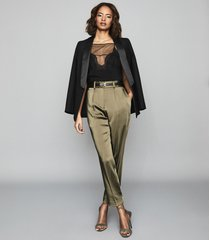 reiss elyssa - satin pleated trousers in olive, womens, size 10