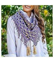 cotton scarf, 'subtle movement in purple' (mexico)