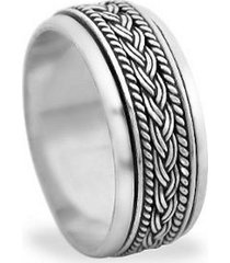 braided knot sterling silver spinning wedding band promise worry ring sz5~ sz14