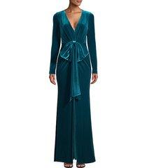 bow-front velvet gown