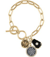 rachel rachel roy two-tone coin charm toggle bracelet