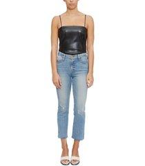 lucy paris faux-leather sleeveless bodysuit