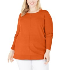 karen scott plus size scoop-neck seamed sweater, created for macy's