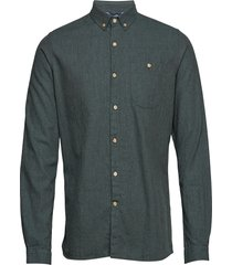 melange effect flannel shirt - gots overhemd casual groen knowledge cotton apparel