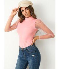 blusa de manga larga de malla con cuello alto de yoins basics