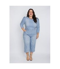 macacão jeans plus size feminino izzat mangas bufantes