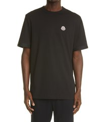men's moncler logo patch taped sleeve cotton t-shirt, size x-large - black