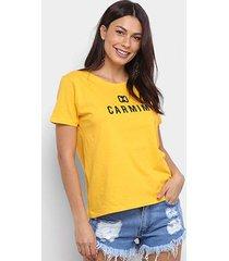 camiseta t-shirt carmim estampada manga curta feminina
