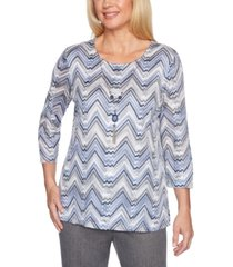 alfred dunner petite sapphire skies zigzag-knit sweater
