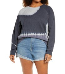 treasure & bond tie dye colorblock organic cotton blend sweatshirt, size 1x in navy blazer- blue combo at nordstrom
